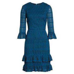 MAGGY LONDON Ruffle lace sheath blue dress 14